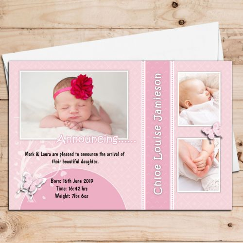 10 Personalised Baby Girl Birth Announcement Thank You PHOTO Cards N96